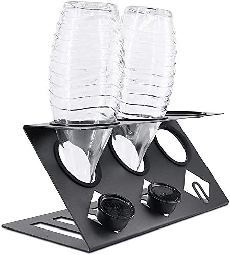 KYONANO Soporte para botellas SodaStream, incluye soporte para la tapa, soporte para SodaStream, apto para lavavajillas, para 3 botellas SodaStream, número 008474381-0003