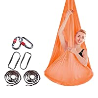 リラックスチェア、空中ヨガハンモック健康的な空中シルクヨガスイング反重力ヨガ柔軟性の向上, Orange