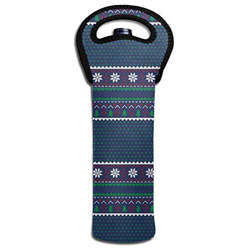 Thermoisolierende Taschen für Flaschen mit Weihnachtsbaum, Schnee, Kirschen, Wein, Dekoration