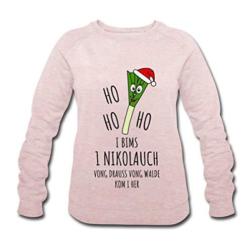 Ho Ho Ho 1 Nikolauch Vong Drauss Vong Walde Ugly Christmas Sweater Weihnachten Frauen Bio-Sweatshirt von Stanley & Stella, L, Rosa-Creme meliert