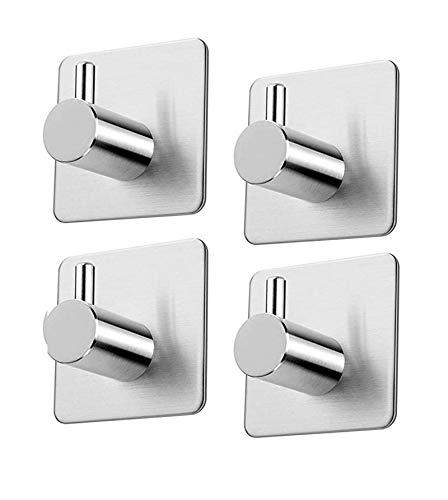4 ganchos autoadhesivos para cocina, baño, acero inoxidable cepillado, ganchos de pared para toallas, ganchos sin taladrar