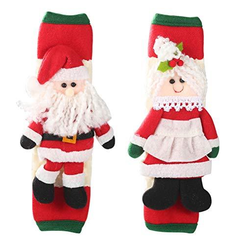 Comtervi Christmas refrigerador manija de Puerta Cubre 3D Cocina de Dibujos Animados Cocina microondas manija Cubre para Decoraciones navideñas 2 Piezas
