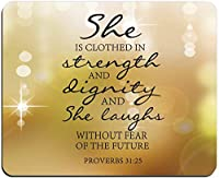 黄色の日当たりの良い背景マウスパッド聖書の一節箴言31:25彼女は強さと尊厳を身に着けており、将来の長方形の滑り止めゴム製マウスパッドを恐れることなく笑っています