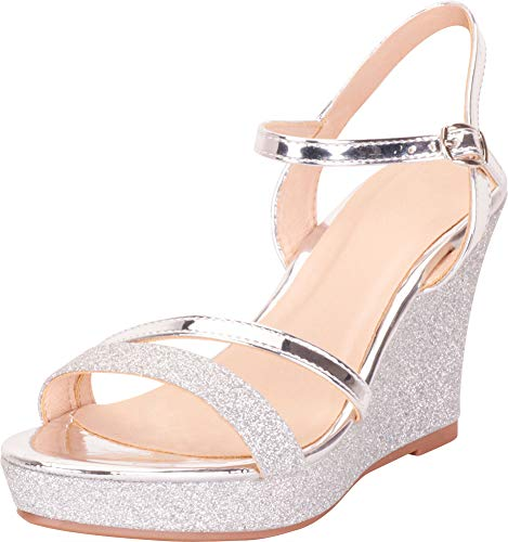 Cambridge Select Women's Strappy Glitter Chunky Platform Wedge Sandal,9 B(M) US,Silver