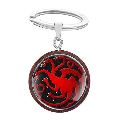 Wjlytf Llavero retro en forma de dragón para hombres y mujeres Diseño Qinglong Charizard Cúpula de cristal única de madera Regalos-KB045