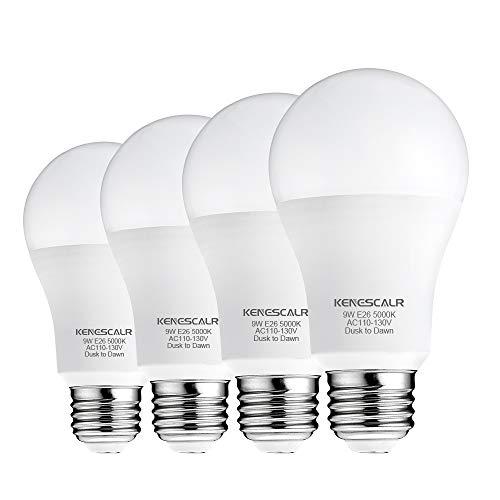 KENESCALR Dusk to Dawn Light Bulbs Outdoor Lighting Photocell 9W(60W Equivalent) Daylight White 5000K 900LM A19 E26 Auto On/Off LED Light Sensor Bulb for Porch, Garden, Garage, 4-Pack