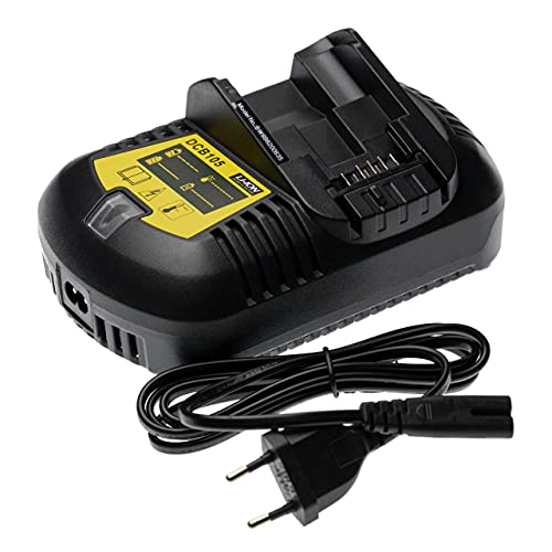 vhbw Cargador compatible con Dewalt DCS380M1, DCS381, DCS391, DCS391B, DCS391L1 herramientas, baterías de Li-Ion (10,8V, 12V, 14,4V, 18V, 20V, 14V)