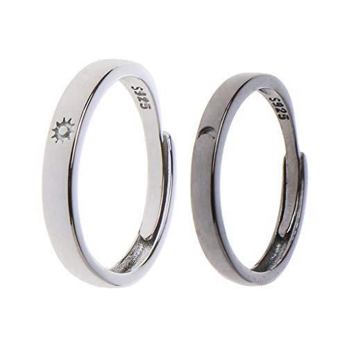 yasu7 Juego de 2 anillos ajustables y abiertos para parejas, amantes de la amistad, de Sun Moon