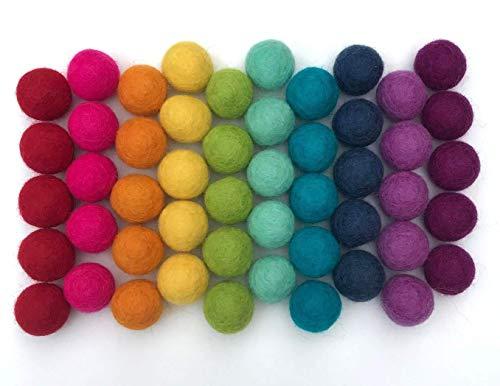 Wildflower by Hu Hands Rainbow Party – 100 % handgefertigte Wollfilz-Pompons – (50 Stück) reine neuseeländische Wollfilzbälle – DIY Pompons – 2,5 cm Größe – Musselin-Tasche mit Kordelzug