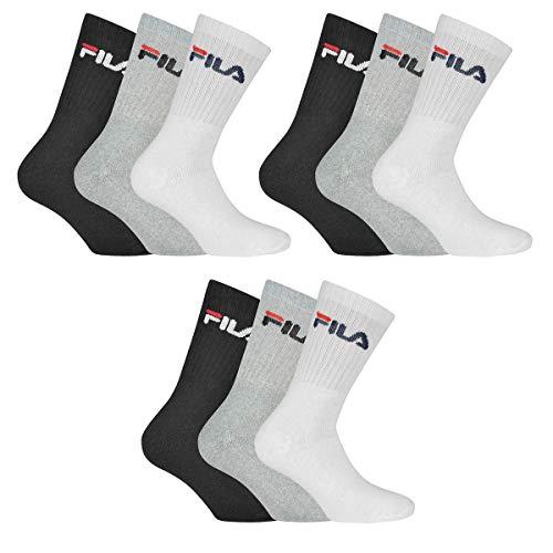 Fila 9 Paar Socken, Frottee Tennissocken mit Logobund, Unisex (3x 3er Pack) (Classic Mix (Schwarz;...