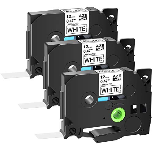 """GREENCYCLE 3PK Replacement Black on White Standard Laminated Tape 12mm 0.47"""" TZe-231 TZ-231 AZE Label Tape Compatible for Brother P-Touch Cube PT-D200 PT-D210 PT-D400 PT-H100 PT-1230PC Label Makers"""