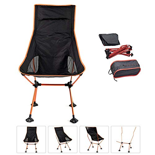 Sun Lounger, Sunbed,Outdoor Camping Chairs Folding Lightweight Padded with Armrests Portable Recliner Seat Compact Ultralight Beach Chair with Carry Bag Fishing Chairs for Seaside Travel Orange