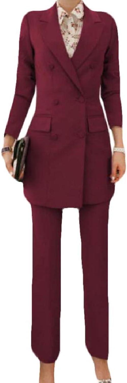 Nanquan Women DoubleBreasted Long Sleeve Office Blazer Jacket Pants 2 Piece Suits Set