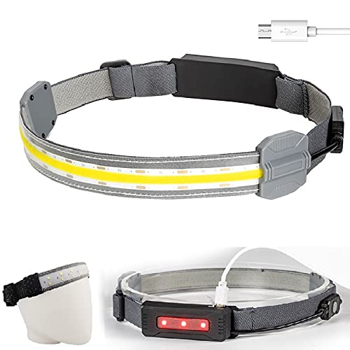 Headlamp Flashlight LED 220° Wide Beam Headlamp Battery of USB Powered Head Lamp Lightweight COB Bright Headlight with 3 Modes for Fishing Camping Outdoor Activities