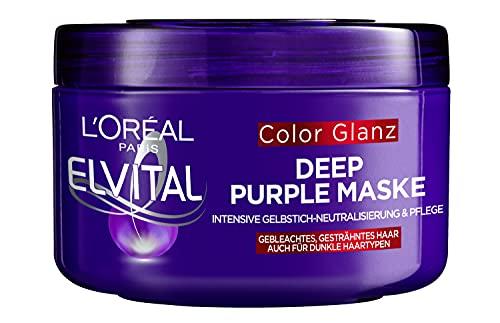 L'Oréal Paris Elvital Haarmaske für blondes, gesträhntes, graues Haar, Neutralisiert Gelbtöne, Color Glanz Purple Deep Mask gegen Gelbstich, 1 x 250 ml