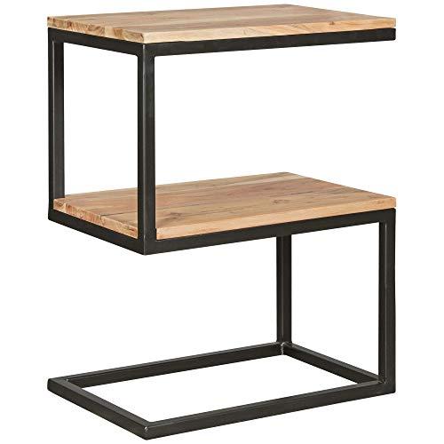 WOHNLING Beistelltisch AKOLA S-Form Akazie Massiv-Holz Metall 45 x 60 x 30 cm | Design:ohnzimmertisch Landhaus-Stil | Couchtisch Ablagetisch eckig