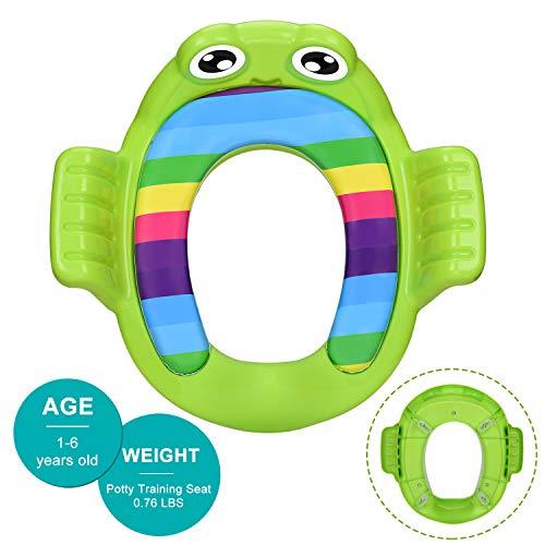 Toilettensitz für Töpfchentraining, mit Griffen und Rückenlehne, für Kleinkinder, mit Spritzschutz, mit weichem Kissen