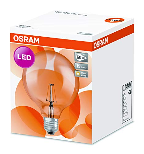 Osram LED Star Classic Globe, in Ballform mit E27-Sockel, Nicht Dimmbar, Ersetzt 60 Watt, Filamentstil Klar, Warmweiß – 2700 Kelvin, 1er-Pack - 5