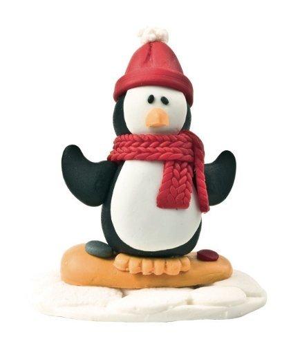 Decorazione Torte Tema Natale Motivo Pinguino sullo Snowboard 48mm