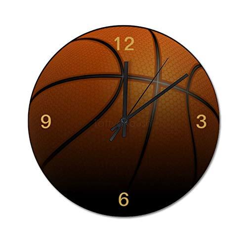 25 x 25 cm, silencioso, no hace tictac, reloj de pared para jugador de baloncesto, reloj redondo, para casa, oficina, aula, escuela, fácil de leer