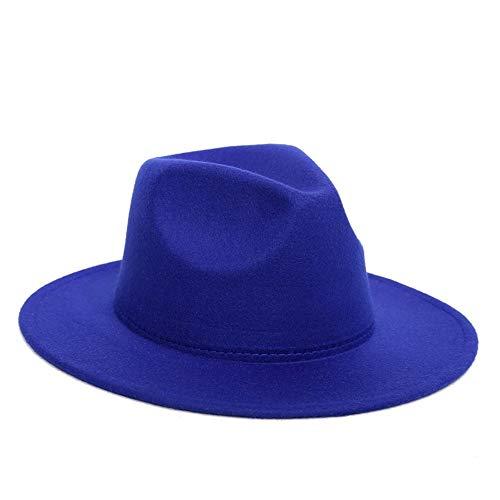 AAAGX Sombrero De Fieltro De Algodón De Fieltro De Jazz con Hebilla Fija Otoño Invierno Winter Hat Formal Neutral Fashion Hat(Size:56-58cm,Color:Azul)