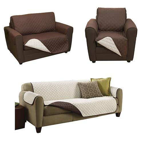 Couch Coat Funda Protectora De Sofá, Reversible Color Café y Beige, Set De 3 Piezas, Como Lo Vio En TV…