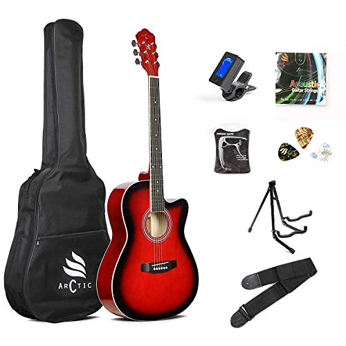 ARCTIC Sky series 39' Guitar (with Truss Rod) with Bag, 3 Picks, Strap, String Set, Guitar Stand, Tuner & Capo. Ultra pack Red