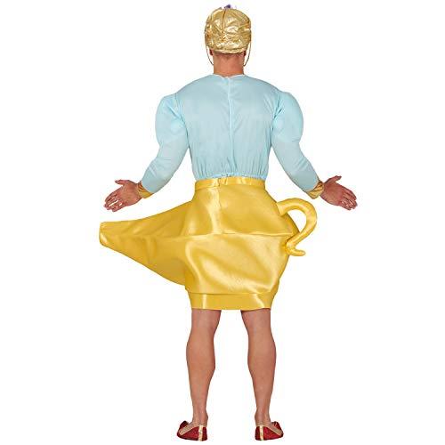 Amakando Disfraz Oriental Genio para Adulto - Azul-Dorado L (ES 52/54) - Fabuloso Outfit espritu de la Botella lampara encantada - Insuperable para Festival y Noches temticas