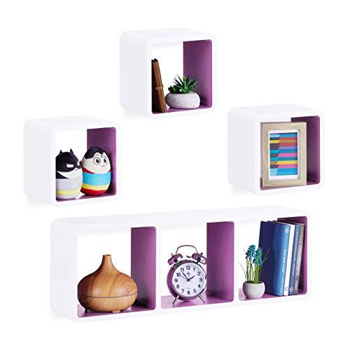 Relaxdays Cube Regal, 4er Set, Freischwebend, Quadratisch, Modern, Hoch- & Querformat, Kinderzimmer, MDF, Weiß/Violett