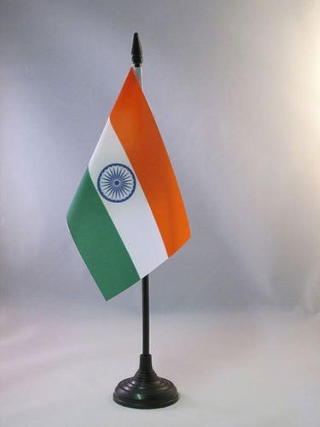 AZ FLAG India Table Flag 4'' x 6'' - Indian Desk Flag 15 x 10 cm - Black Plastic Stick and Base
