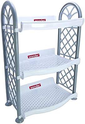 Wonder Rexo 203 Multipurpose Plastic Organising Rack, Set of 3 Shelves, White Color