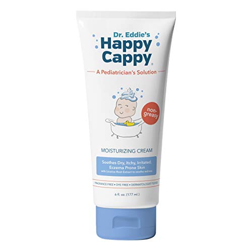 Dr. Eddie's Happy Cappy Moisturizing Cream For Children, Soothes Dry, Itchy, Irritated, Eczema Prone Skin, Dermatologist Tested, Fragrance Free, Dye Free, Non-Greasy, 6 oz Tube