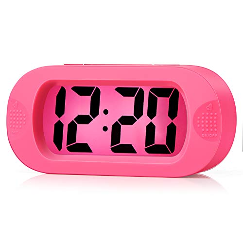Kids Alarm Clock - Plumeet Large Digital LCD Travel Alarm Clocks with Snooze and Night Light - Ascending Sound and Handheld Sized - Best Gift for Kids (Pink)
