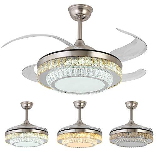 Moderne LED unsichtbare Ventilator helles Wohnzimmer Esszimmer Schlafzimmer Deckenventilator Licht Moderne Halle Mode Kristall-Kronleuchter Silber (Size : 107 * 46cm)