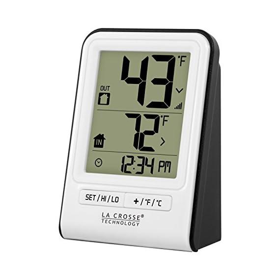 La Crosse Technology 308-1409WT-CBP Wireless Temperature Station, White 4 Monitors indoor & wireless outdoor temperatures (F/C adjustable) Hi/low records of temperature values Indoor Humidity (%RH)