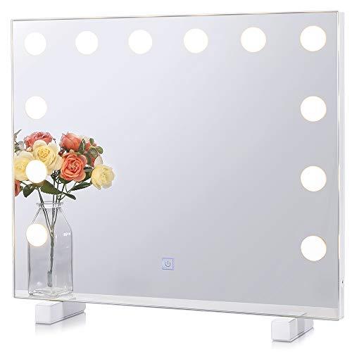 Chende Hollywood LED Schminkspiegel mit Licht für die Wandmontage, Beleuchteter Kosmetikspiegel 3 Farbumbauten Standspiegel für Schminktisch, Großer professioneller Weiß Theaterspiegel mit Beleuchtung