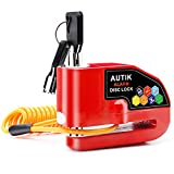 Autik Motorcycle lock Alarm Disc Brake Lock Motorcycle Alarm with 110db Alarm Sound Anti Theft Wheel Disc Lock Heavy Duty Waterproof with 5 feet Reminder Cable Red