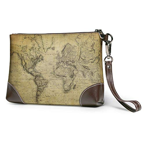 GLGFashion Sac à main en cuir pour femme Antique World Map Portable Travel Makeup Cosmetic Bags Organizer Multifunction Case Toiletry Bags for Women