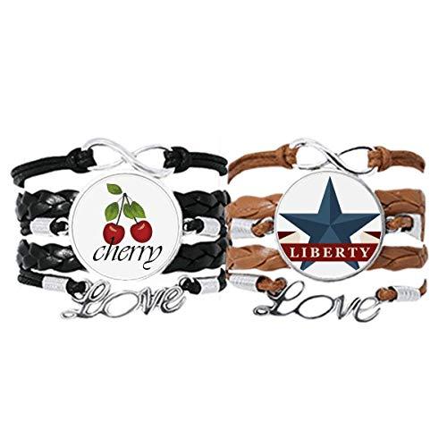Bestchong Pentagram Liberty Slogan America Country City - Pulsera de piel con correa de mano y cuerda de cerezo