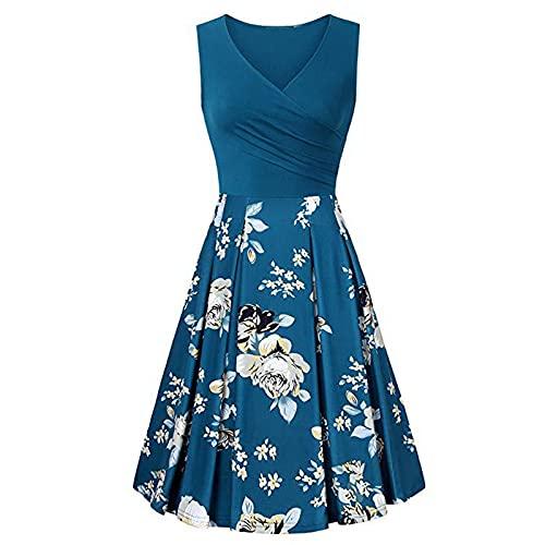 PangkII - Vestido largo para mujer, sin mangas, diseño de rayas B-azul. M