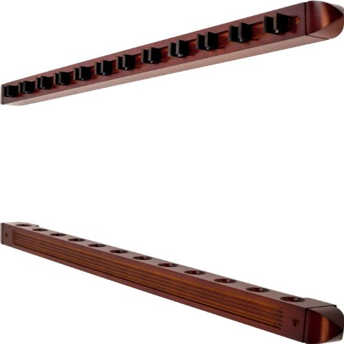 Trademark 12 Cue Wall Mount Rack with Natural Wood Finish Cue