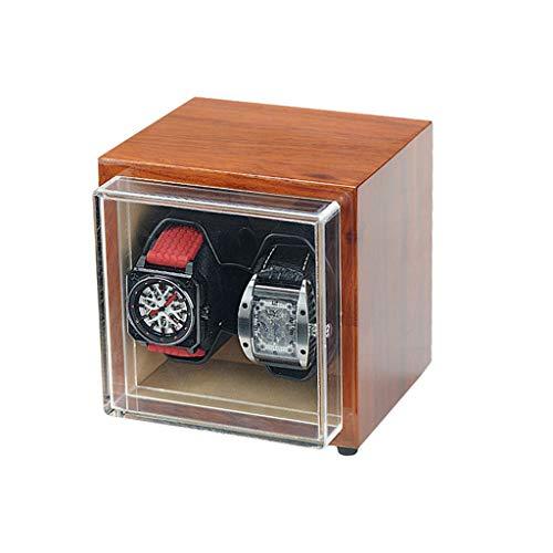 Oksmsa Madera Automático Bobinadora para Relojes, Mudo Caja De Bobinado, 5 Modos Giratorios con Watch Pillow, Adaptador De Corriente Alterna O Batería Poder (Color : 2+0)
