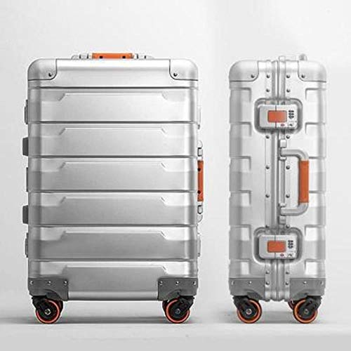fishhochwertiges Aluminium-Magnesium Business Boarding 20/24 Größe Gepäck Spinner Marke Reisekoffer, Silber