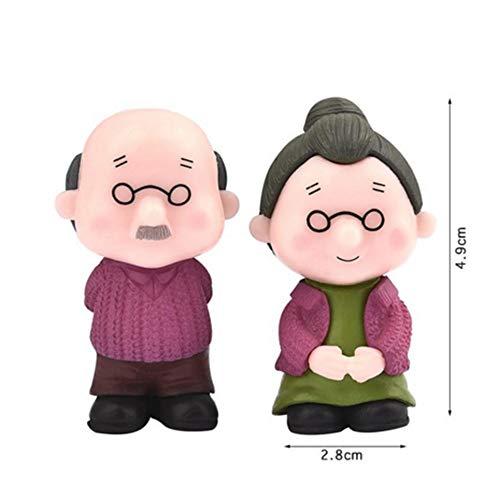 Aqiong Hibeilinq Kawaii Figuren Oma Opa Alte Paare DIY Mini-Fee-Garten Ornament Puppe Paar Geschenk Figuren Miniatur Bastelmaterial (Size : 02)