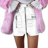 Jinglive Mujeres Cintura Alta Cuero Falda Mini Falda Sexy Bodycon PU...