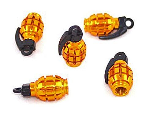 ETU24® Ventilkappe Gold - Gelb Handgranate Granate eloxiert metallic Alu 4 Stück Ventilkappen 4er Set