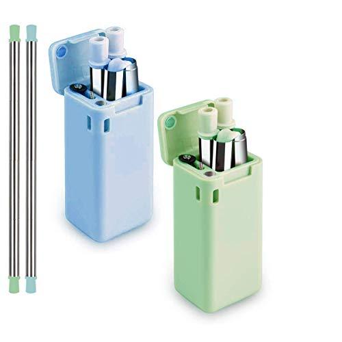 Pajitas Reutilizables Plegable, compuesto de acero inoxidable y silicona apta para uso alimentario,…