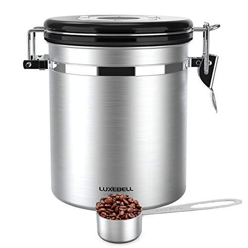 Luxebell Kaffeedose Edelstahldose Aromaverschluss für 500g / 1,5 Liter Kaffeebohnen, Tee, Kakao, Müsli, Nudeln, Haferflocken usw. Silber mit kostenlosem Edelstahl Löffel