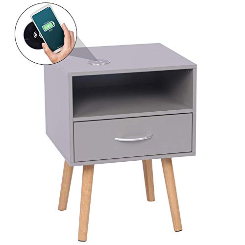 Wireless Charging Smart Bedside Table, Modern Bedside Cabinet with Drawer and Storage Unit, Grey, 42 x 40 x 56cm