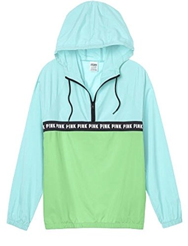 Victoria's secret Pink Anorak Windbreaker Quarter Zip Jacket Green/Blue XSmall/Small